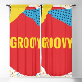 Groovy Color Collage Blackout Curtain