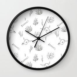 Desert Bones and Plants Pattern Wall Clock