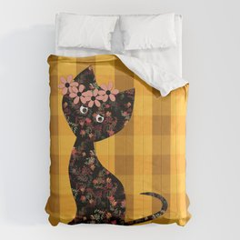 Yellow plaid, cat Comforters