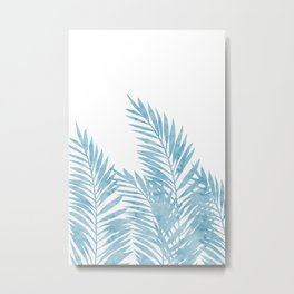 Palm Leaves Light Blue Metal Print