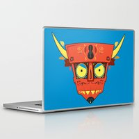 diablo Laptop & iPad Skins featuring Dia de Los Robot Diablo by Ashley Hay