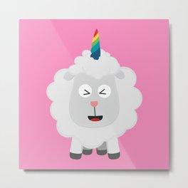 Unicorn Sheep with rainbow Bffz8 Metal Print