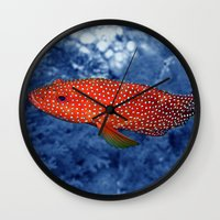 trout Wall Clocks featuring Coral Trout by Serenity Photography