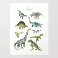 dinosaurs Art Prints featuring Dinosaurs by Amy Hamilton
