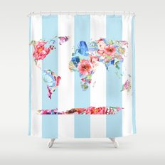 Floral World Stripe Shower Curtain