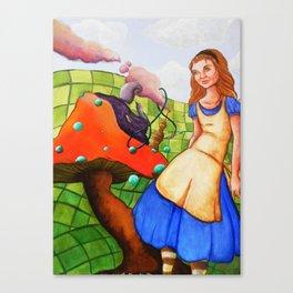 alice talks to the caterpillar Canvas Print