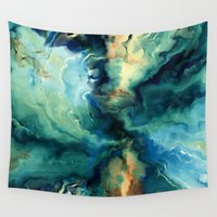 agate Wall Tapestries featuring Blue Agate by Kristiana Art Prints