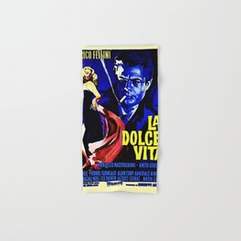 Vintage 1960 Fellini Lithograph Movie Poster Wall Art Hand & Bath Towel