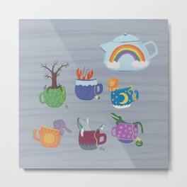 Tea Party with Friends Illustration Metal Print