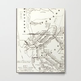 Vintage Brooklyn NY Transit System Map (1912) Metal Print