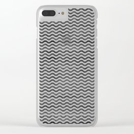 Geometrical hand painted watercolor black chevron Clear iPhone Case