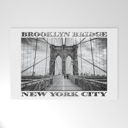 Brooklyn Bridge New York City (black & white edition with text) Welcome Mat