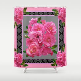 VICTORIAN STYLE CLUSTERED PINK ROSES ART Shower Curtain