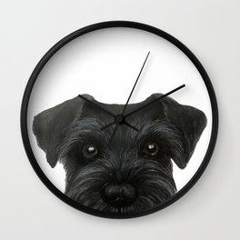 Schnauzer-black Dog illustration original painting print Wall Clock