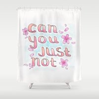 musa Shower Curtains featuring Can You Just Not by Atelier Amy