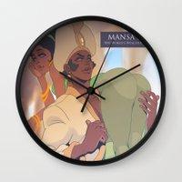 musa Wall Clocks featuring Mansa Musa by DennisARTWORKS