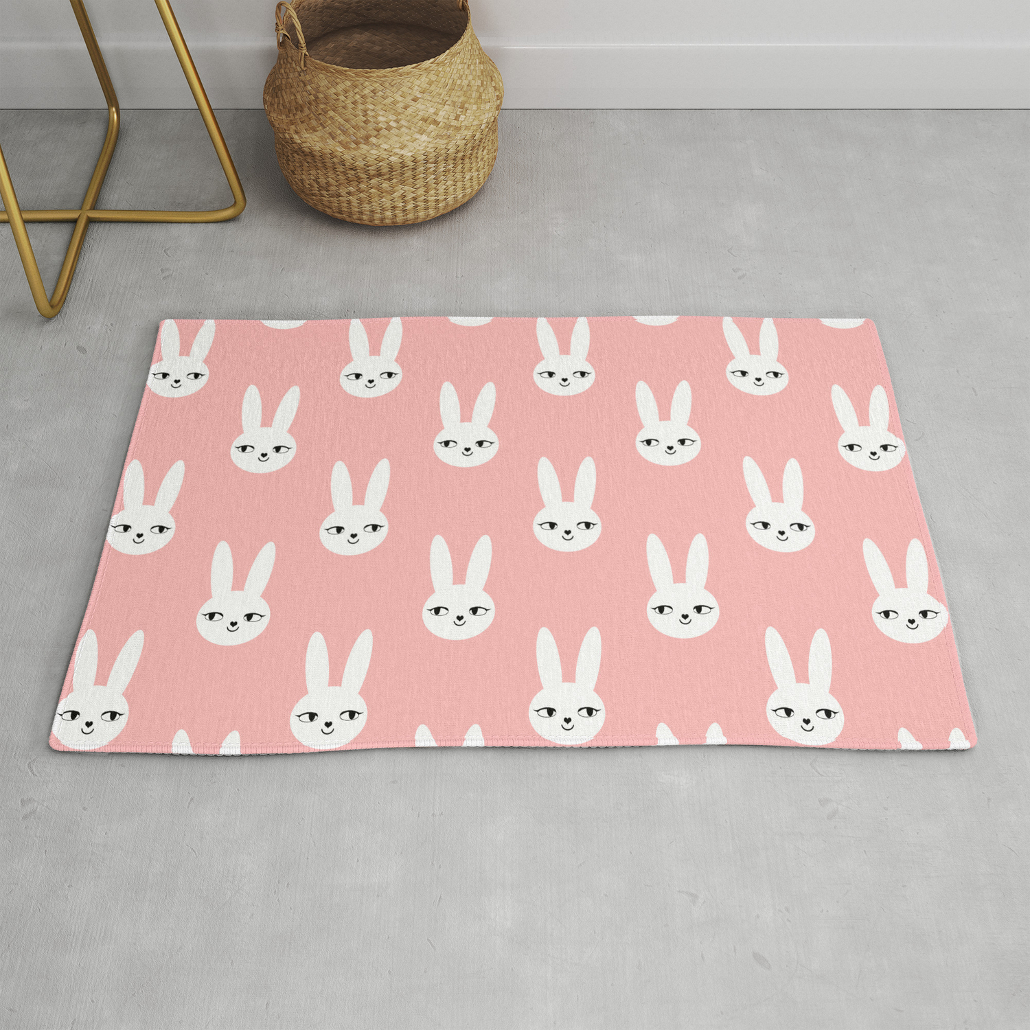 Image of: Bunny Rabbit Pink And White Spring Cute Character Illustration Nursery Kids Minimal Floral Crown Rug By Charlottewinter Society6