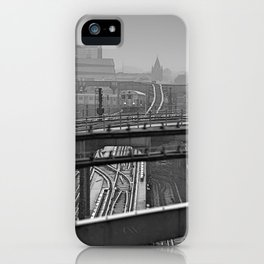 Tales of a Subway Train in Black and White iPhone Case