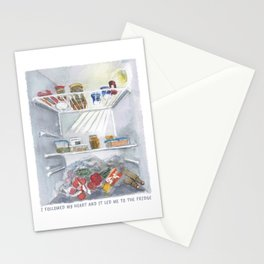 i followed my heart, and it led me to the fridge Stationery Cards