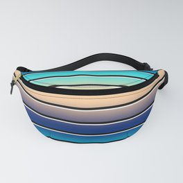 Beach Stripe 5, Variegated and Black and White Stripes Fanny Pack