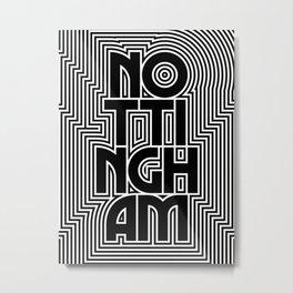 Nottingham City Text Pattern England Metal Print