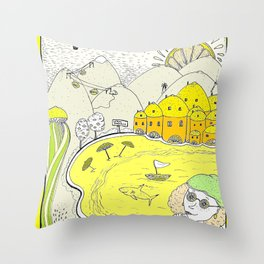 Lemon paradise Throw Pillow