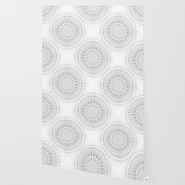 Gray White Mandala Wallpaper