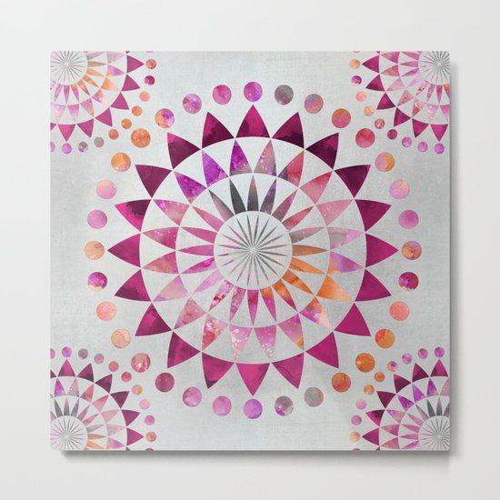 Mandala Pattern in warm shades of orange and pink Metal Print