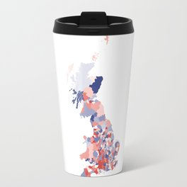 Patriotic Great Britain Map Print Abstract in Red White and Blue a great talking piece for the home! Travel Mug