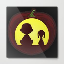 charlie and snoopy hallowen pumpkin Metal Print