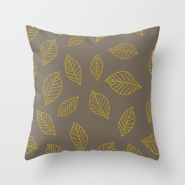 Leaves, Yellow, and Grey Throw Pillow