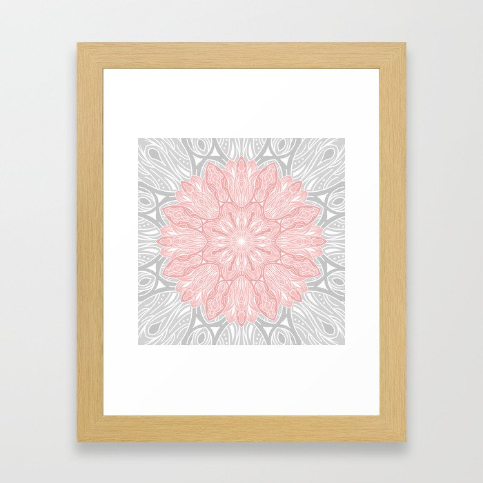 MANDALA IN GREY AND PINK Framed Art Print