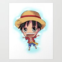 luffy Art Prints featuring Luffy by Midnight Tardis