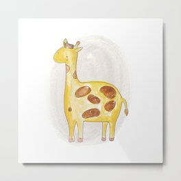 Animal tales - Giraffe in watercolor Metal Print