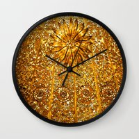 gold glitter Wall Clocks featuring Glitter Gold by Saundra Myles