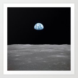Earth rise over the Moon Art Print