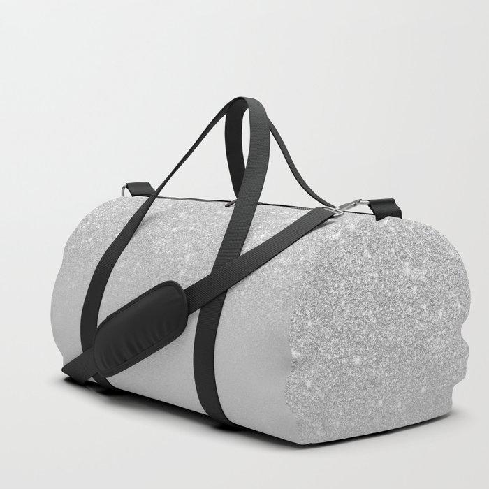 Trendy modern silver ombre grey color block Duffle Bag