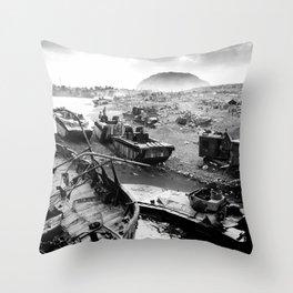 Iwo Jima Beach Painting Throw Pillow