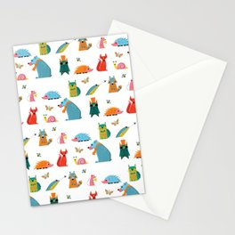 Scandinavian woodland animals pattern print Stationery Cards
