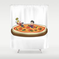 soccer Shower Curtains featuring Soccer pizza by flydesign