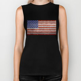 Flag of the United States of America in Retro Grunge Biker Tank