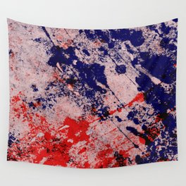 Hot And Cold - Textured Abstract In Blue, Red And Black Wall Tapestry