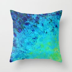 TRUE REFLECTION - Ocean Water Waves Ripple Light Impressionist Bright Colors Ombre Painting Throw Pillow