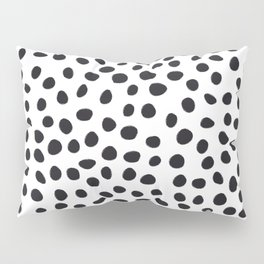 Hand Drawn Polka Dots, Spots Black &  White Pillow Sham