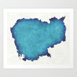 Cambodia map with drawn lines and blue watercolor illustration Art Print