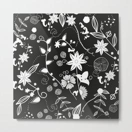 Black White Boho Flowers Retro Styling Pattern Metal Print