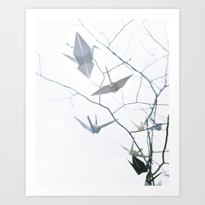 photograph regarding Origami Crane Instructions Printable called Origami Cranes and Tree Branches Rest Artwork Print through surfacemaximus