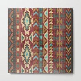 Geometric Art, Aztec Print, Green, Teal, Red, Gold, Boho Prints Metal Print