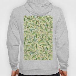 Tropical yellow green abstract leaves floral pattern Hoody