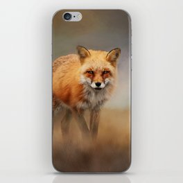 Red Fox In Foggy Landscape - Wildlife Photography iPhone Skin